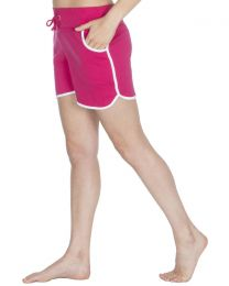 Cottonique Contrast Piping Lounge Shorts - Pink
