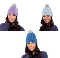 Ladies Foxbury Chunky Cable Knit Beanie Hat with Fur Bobble GL554 Denim, Grey or Mauve