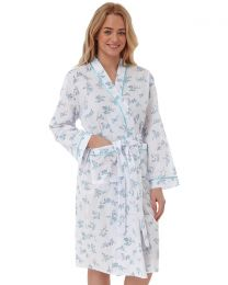 Lady Olga Floral Woven Dressing Gown - Blue
