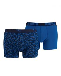 Puma 2 Pack All Over Print Boxer Shorts - Blue