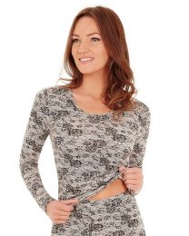 Charnos Second Skin Thermal Long Sleeve Top - Black Print