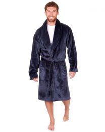 Sleepy Joes Shawl Collar Robe - Navy