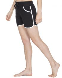 Cottonique Contrast Piping Lounge Shorts - Black