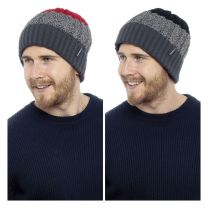 Mens Chunky Knit Winter Turn Up Stripe Beanie Hat with Warm Fleece Lining