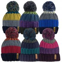 Unisex Fur Lined Striped Chunky Knitted Bobble Hats