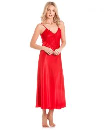 Lady Olga Satin Long Nightdress - Red