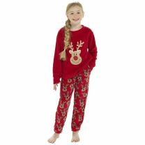 Girls Foxbury Reindeer Pyjamas LN186 Red