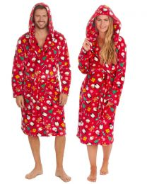 Unisex Christmas Hooded Dressing Gown - Red