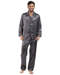 Harvey James Satin Pyjamas - Navy