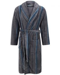 Walker Reid Stripe Coral Fleece Robe - Grey