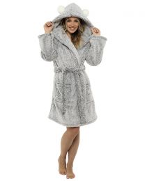Foxbury Pom Pom Hooded Robe - Charcoal