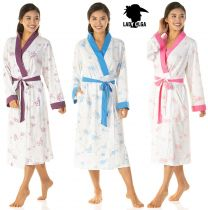 Womens Luxury Lady Olga Poly/Cotton Dressing Gown Wrap 6704 Blue Pink or Purple