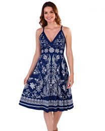 Pistachio Navy Embroidered Cotton Summer Dress