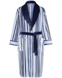 Walker Reid Soft Stripe Fleece Robe - Navy