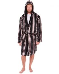 Sleepy Joes Coral Fleece Dressing Gown - Black Stripe