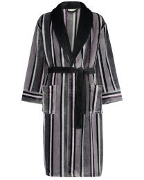 Walker Reid Soft Stripe Fleece Robe - Grey
