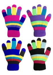 2 Pairs Childrens Kids Multi Coloured Stretch One Size Magic Gloves With Liner