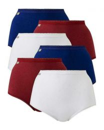 Playtex 6 Pack Cotton Maxi Brief - White/Red/Blue