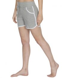 Cottonique Contrast Piping Lounge Shorts - Grey