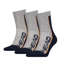 3 Pack Head Performance Short Crew Sports Socks White/Grey or Grey/Navy