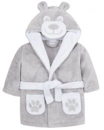 Baby Teddy Fleece Robe - Grey