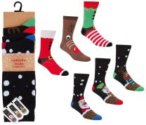 6 Pairs Mens Cotton Rich Novelty Xmas Fun Socks 40B503 Size 6-11