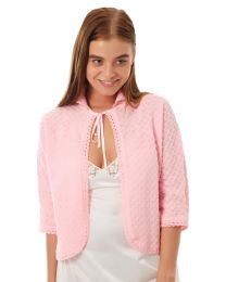 Lady Olga Knitted Bed Jacket - Pink