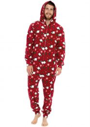 Foxbury Fleece Christmas Polar Bear Onesie - Red