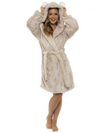 Foxbury Pom Pom Hooded Robe - Oatmeal