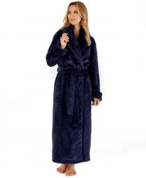 Slenderella Fur Collar Dressing Gown - Indigo