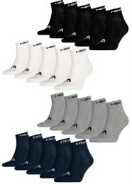HEAD Unisex Cotton Blend Quarter Sports Socks 5 Pairs Black, Grey, White or Navy