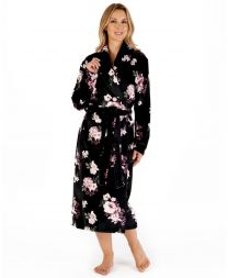 Slenderella Floral Wrap Dressing Gown - Black